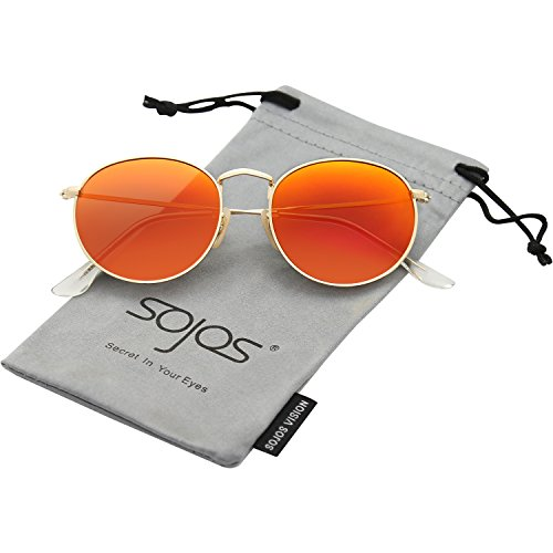 SojoS Small Round Polarized Sunglasses Mirrored Lens Unisex Glasses SJ1014 3447 With Gold Frame/Orange Mirrored - Orange Mirrored Sunglasses