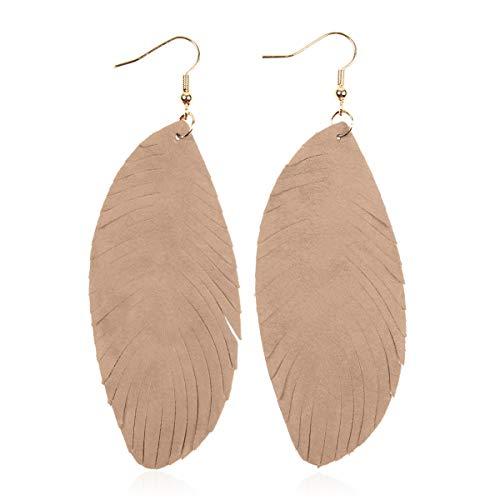 Khaki Leaf - Bohemian Genuine Suede Real Leather Drop Earrings - Lightweight Feather Shape Tassel Dangles Fringe Leaf, Angel Wing (Fringed Leaf - Khaki, 3.5)