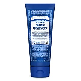 Dr. Bronner's - Organic Shaving Soap (7 Ounce) - Certified Organic, Sugar and Shikakai Powder, Soothes and Moisturizes… 24 USDA ORGANIC & FAIR TRADE INGREDIENTS: Fair trade & organic sugar combined with organic white grape juice keeps your skin nourished & moisturized. Organic coconut-olive-hemp oils blend for a creamy castile lather—our soapmaking tradition! SHAVE, CLEANSE & HYDRATE ALL AT ONCE: Our shave gel is a multifunctional product—like most of our products. Cleanse as you shave and leave your skin moisturized! Use on your face, underarms & legs—for both men & women. All-One! ORGANIC SHIKAKAI POWDER FOR SHAVING: Shikakai powder, derived from a tree pod, has long been used in traditional hair & body care in India. Shikakai hydrates & soothes dry skin while it cleanses. Great for shaving—so give your skin a treat!