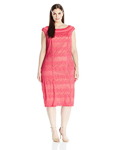 Gabby Skye Women's Plus Size Full Figured Cap Sleeved Crochet Lace Sheath Dress, Coral/Nude