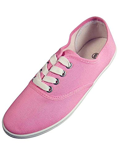 Easy USA - Womens Canvas Lace Up Shoe with Padded Insole, Baby Pink 37305-7B(M) US]()