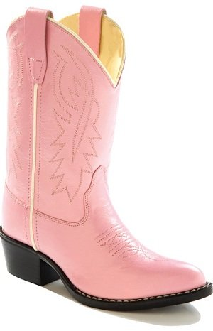 Girls Pink Leather Cowboy Boots, 13 M US