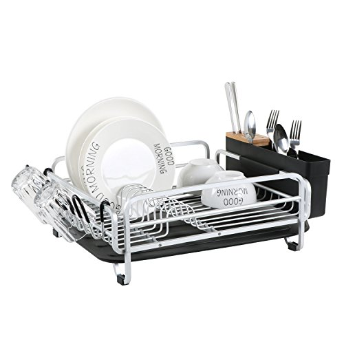 Aluminum Dish Drying Rack with Large Storage Cutlery Holder,Removable Drainer tray & Bamboo Cover & Cup Holder for Kitchen (Black)111913