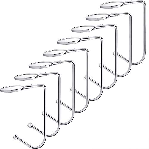 FIVE CENTS Metal Round Hook 8 pcs, Christmas Stainless Steel Hookers, Safety Hang Grip Stockings Clip for Christmas Party Decoration