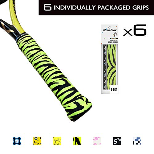 Alien Pros X-Dry Tennis Designer Overgrips Tapes (6-Pack) Perfect for Your Tennis Racket, Racquetball Grip, Squash Racquet and More