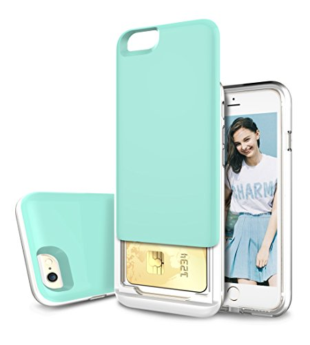 iPhone 6S Case, iPhone 6 Case, Style4U Slim Shock-Resistant Hybrid Armor Case with Credit / ID Card Compartment for Apple iPhone 6S / 6 with 1 Stylus and 1 HD Clear Screen Protector [Mint Green]