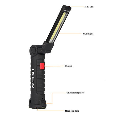 ULTRAFIRE USB Rechargeable Flashlight LED Tactical Flashlights Portable Folded Working Lights COB Multi-functional Flashlight Work Light Small Torch Table Lamp Computer Light