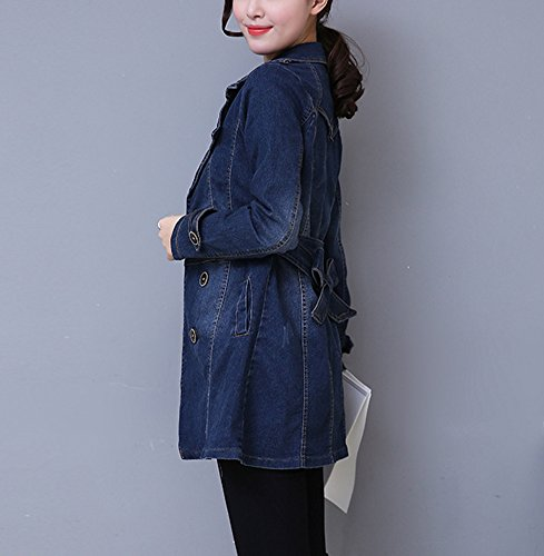 Manica Casual Denblu Jacket Lunga Giubbino Giacca Donna Denim Jeans xTRRHI