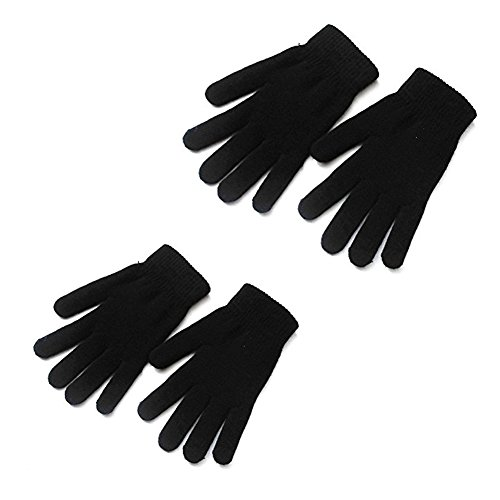 Mellons Unisex Winter Knit Classic Solid Color Gloves (One Size, Black-2 Pairs)
