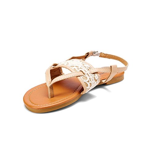 Bebe Girls' Thong Sandals with Crochet Detail Cognac Size (Detail Thong Sandals)