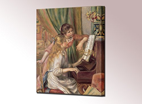 Young Girls at the Piano Canvas Print by Pierre Auguste Renoir Large Framed Wall Art Picture Ready to Hang Stretched Home Decor Framed Reproduction (80 x 60 (Renoir Picture)