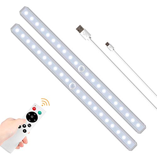 SZOKLED Rechargeable LED Closet Lights with Remote Control LED Under Cabinet Lighting, Wireless Counter Light Fixtures Magnetic Strip, LED Under Bar Light for Kitchen Lighting, Shelf Lighting White