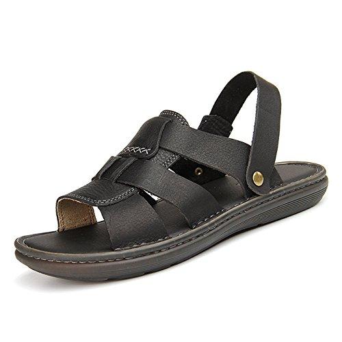 Hope Mens Leather Open Toe Slip-On Sandals Summer Comfort Boys Beach Sandals Slipper Shoes Black