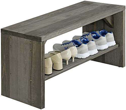 MyGift 36 Inch Vintage Gray Solid Wood Entryway Bench Seat
