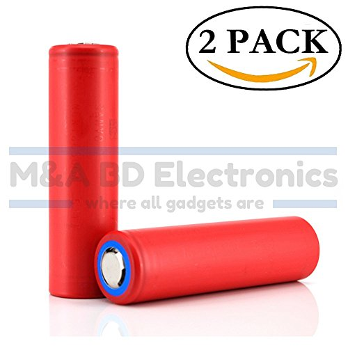 Panasonic Sanyo NCR18650GA High Drain Li-ion 3.7V 3500mAh 10A Rechargeable Flat Top Battery, (2 Pcs) by M&A BD Electronics