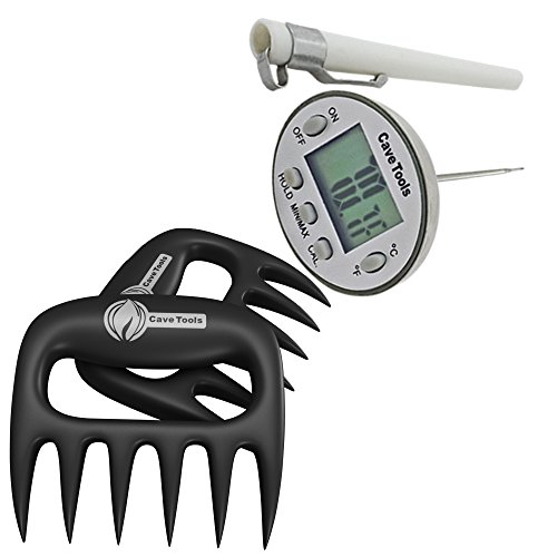 Meat Claws + Digital Cooking Thermometer - INSTANT READ - For BBQ Grilling Candy Chocolate Baking Liquids Smoker - Stainless Steel Casing Long Food Probe & LCD Display