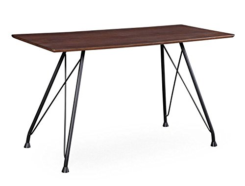 TOV Furniture The Dorian Collection Mid-Century Modern Style Home Office Desk Table with Black Steel Legs, Coffee
