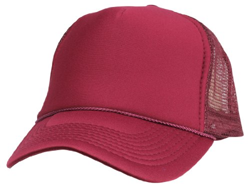 DALIX Blank Hat Summer Mesh Cap in Maroon Trucker Hat -
