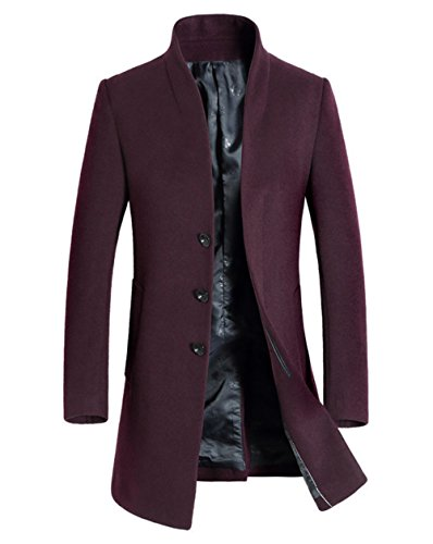 Overcoat Long FUNFOA Winter Red Fashion Warm Single Fashion Men's Breasted Wool Coat Fit Trench Slim rqYwTPqxH