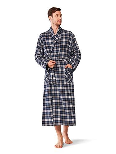 (SIORO Mens Robe Flannel Cotton Plaid Bathrobe Soft Shawl Collar Loungewear,Navy L)