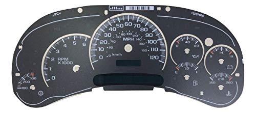 Tanin Auto Electronix Custom Black Gauge Face Overlay | 2003-2005 GMC & Chevy Truck Instrument Cluster Speedometer | 7 Gauges
