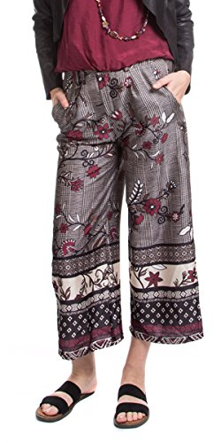 Made In Italy Wide Leg Gaucho Floral Pants (Large)