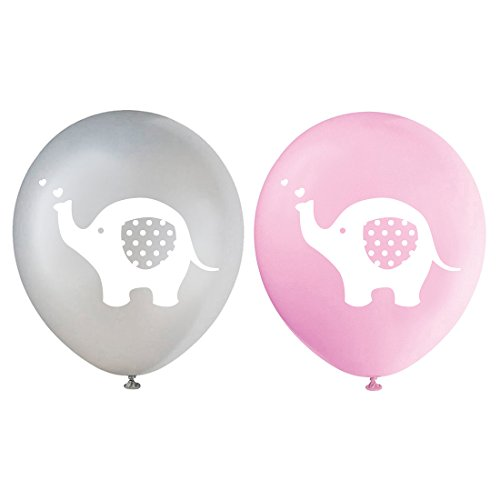 Pink Elephant Latex Balloons, 12 Inch (16pcs) Grey Girl Baby Shower or Birthday Party Decorations Supplies