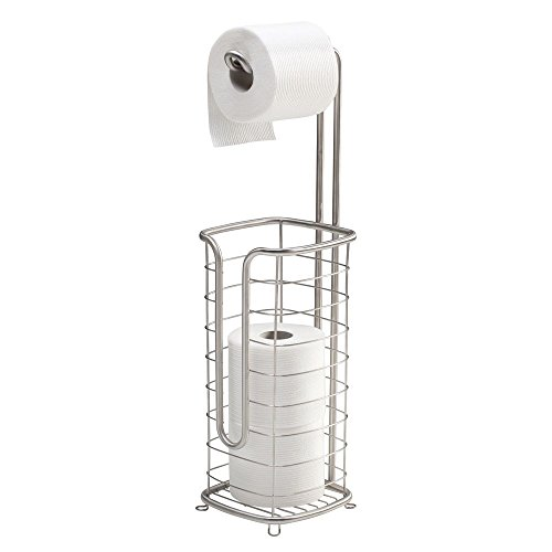 (mDesign Free Standing Toilet Paper Holder Stand and Dispenser, with Storage for 3 Spare Rolls of Toilet Tissue While Dispensing 1 Roll - for Bathrooms/Powder Rooms - Holds Mega Rolls - Satin)