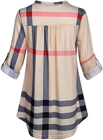 SeSe Code Womens 3/4 Roll Sleeve Shirt Notch Neck Loose Tops Plaid Tunic Blouse 3