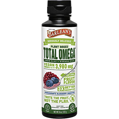 (Barlean's Seriously Delicious Total Omega Vegan, Pomegranate Blueberry Smoothie, 8-oz)