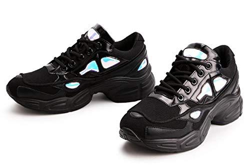 ups Calzado Mesh Deportivo Atheletic Mujer Shiney Para Casual Lace Shoes Moda Transpirable Black qwYdZ0