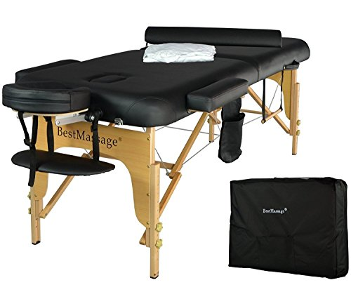 77″ Long 3″ Pad Portable Massage Table with Free Adjustable Head Rest and Carry Case and Half Bolster