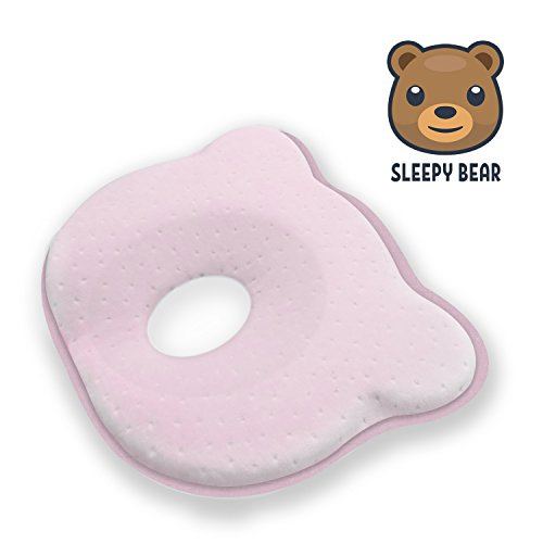 Baby Head Shaping Memory Foam Pillow | Prevent Newborn Infant Plagiocephaly Flat Head Syndrome | Super Soft, Comfortable & Supportive (Pink) by Sleepy Bear