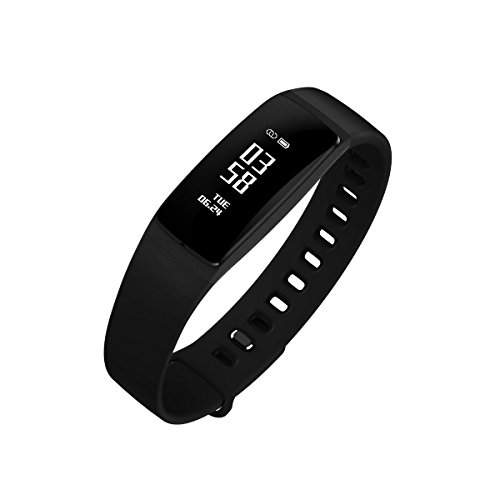 Fitness Tracker, Smart Bracelet Pedometer Wristband, Blood Pressure Monitor Heart Rate Tracking Watches For iOS & Android Smartphone ( V07-Black ) (Bp Wrist Monitor)