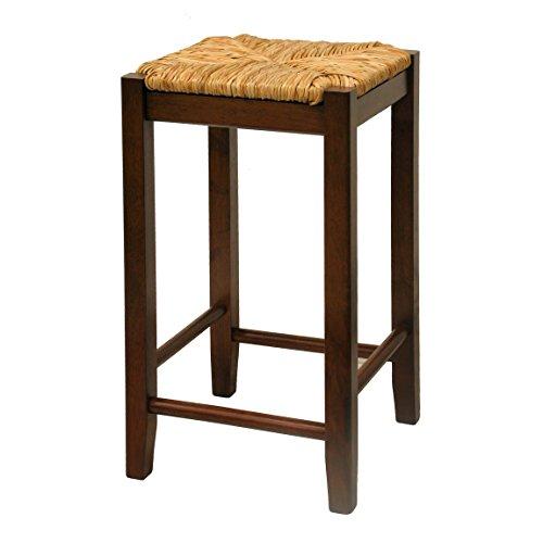 Beachwood Bar Stool (Winsome Wood 24-Inch Antique Walnut Square Rush Seat Bar Stools, Set of 2)