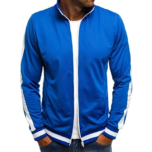 (Abetteric Men's Pocket Splice Zipper Pinstripe Stand Collar Outwear Jacket Blue 2XL)