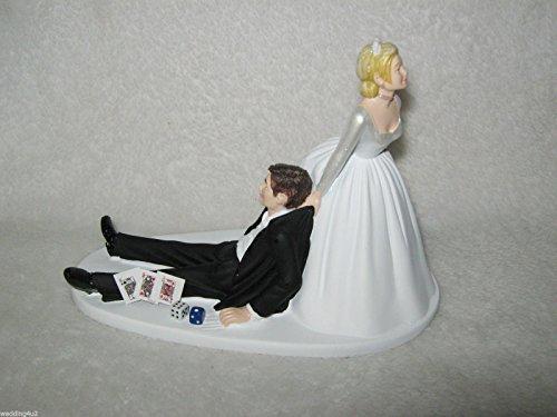 wedding reception party Las Vegas Cards Dice Poker Gambler cake topper