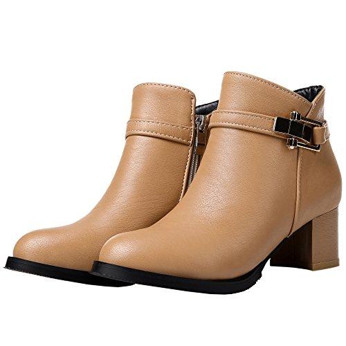 Boots Kitten Heel Chelsea Brown Matte Metal Boots Women Ankle Buckle HooH p6q4Pa6