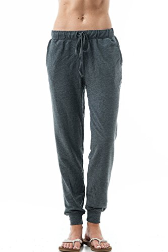 Slant Pocket (Plain Long Drawstring Waist Front Slant Pockets French Terry Sweat Pants Joggers (Small, Charcoal))