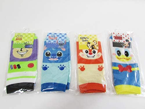 ディズニー キャラクター 顔柄 ジュニア ソックス 靴下 4点セット 子ども用 (サイズ19~24cm) DisneyC