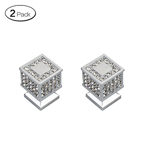 Zhi Jin 2Pcs Square Crystal Cabinet Knob Handle Bling Drawer Knobs Pulls Furniture Decoration Silver by ZHI JIN