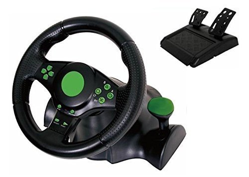 Kabalo Gaming Vibration Racing Steering Wheel (23cm) and Pedals for XBOX 360 PS3 PC USB (Steering Set Xbox360)