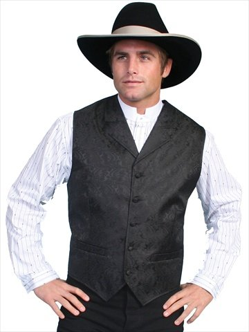 (Scully RW093X-BLK-2XT-B-T Mens Rangewear Scarboro Paisley Vest, Black,)
