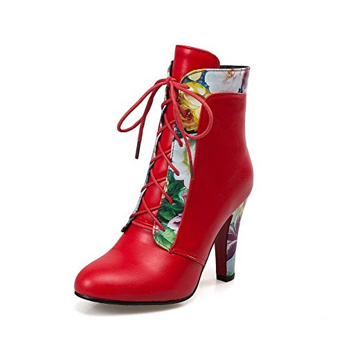 Heels Closed Toe Boots High Top Women's PU Red AgooLar Zipper Low Round w6xqFWTY