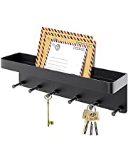 Key Holder for Wall Decorative with 6 Hooks, Stainless Steel Key and Mail Holder Wall Adhesive with Small Mail Holder, Key Rack Organizer for Entryway, Hallway, Kitchen, Office and Farmhouse (Black)