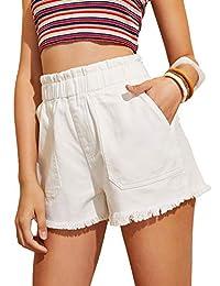Milumia Pantalones Cortos de Jean con Dobladillo de Talle Alto Informales para Mujer, Blanco, M