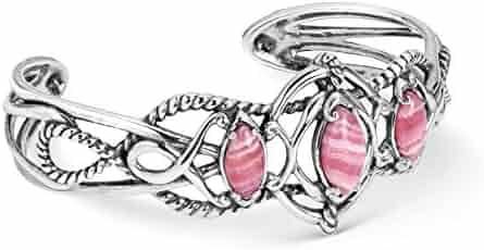 e374ca62b2c Carolyn Pollack Sterling Silver Pink Rhodochrosite Gemstone Scrolling Rope  3 Stone Cuff Bracelet Size S,