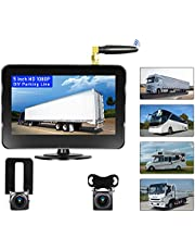 Camecho Vehicle Wireless Backup Camera 5 Inch 2 Split Monitor, Hitch Front Rear View Camera Adjustable Guide Line IP 68 Waterproof Camera for RVs, Bus, Trailer,Truck,Vans, Campers, Support 164FT
