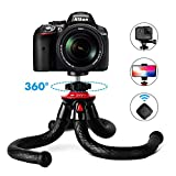 Travel Tripod for iPhone X 8 Plus, Fotopro Flexible Camera Tripod with Bluetooth Remote, Lightweiht Compatible for Canon Nikon Sony DSLR GoPro 360 Camera, Cell Phone Mount Holder for iPhone Samsung Sony Google Huawei Smartphones