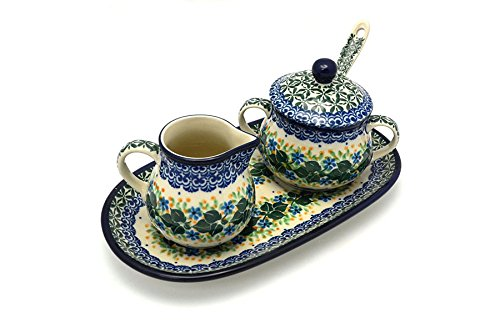 Polish Pottery Cream  Sugar Set with Sugar Spoon – Ivy Trail